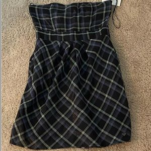 black and gray summer strapless dress
